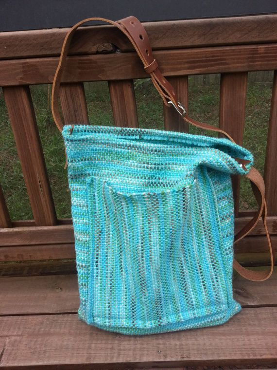 Woven Messenger Bag with Leather Strap  Ready by BoondockStudios, $65.00