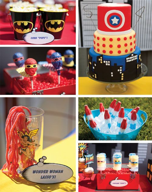 Superhero party - amazing cake! And why didn't I think of using those popsicles? And the superhero valentine idea is perfect here, of course. And there's a balloon wreath. And the lightening bolt shoes are awesome. May have to pin those separately!