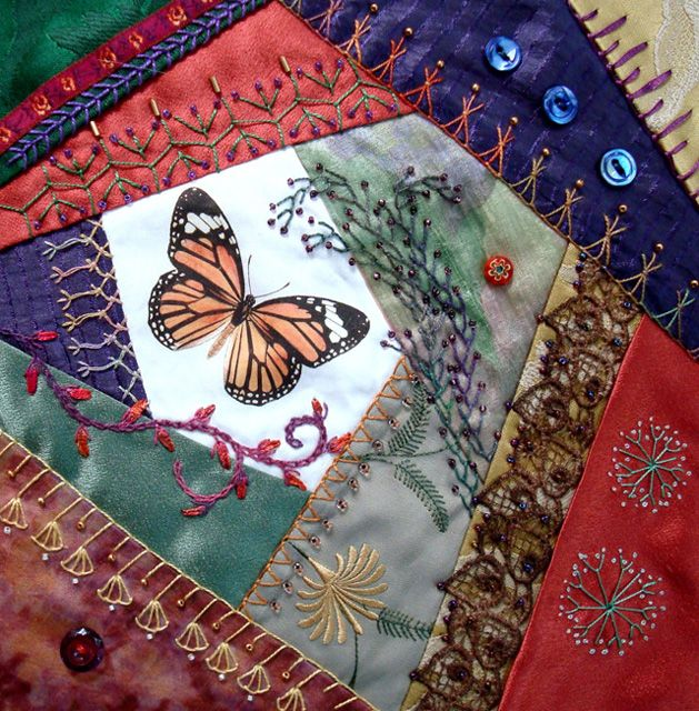 I ❤ crazy quilting . . . Monarch- Created from our July 2007 Treasures as the cover for my new book, Evening Star Designs Blocks with Variations for Crazy Quilters!