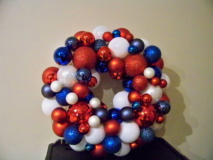 My Red, White & Blue Wreath --   I think I can find a place for it on the 4th and Memorial Day- or since I am an Army mom  any day!