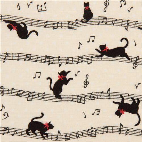 Tissu écru Cosmo avec des chats et des notes de musique - Tissus Animaux - Tissus - boutique kawaii modeS4u