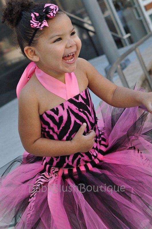 Toddler Hot Pink & Black Zebra Tutu Outfit Costume Set 3 pc (Tutu, Stylish Top, Headband). $58.00, via Etsy.