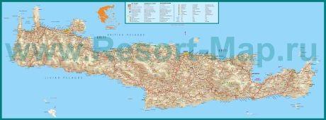 Подробная карта острова Крит с отелями