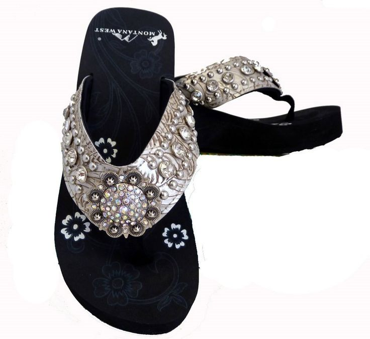 Montana West Ladies Flip Flops Large Rhinestones Floral Concho Beige, 7 M US. Wide textured PU leather strap with comfort cushioning. Rhinestone encrusted floral concho.