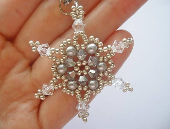 This Snowflake tutorial includes details, easy step by step instructions with colour photos/pictures and materials list. The charm/ pendant is made using Swarovski bicone, pearl and seed beads, which are easily available. It is about 4-4.5 cm. Time required approximately 1 hr Number of