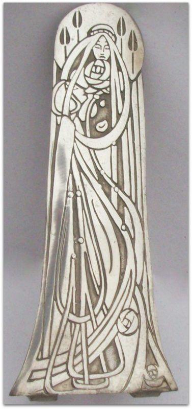 Pewter flower bud vase by Charles Rennie Mackintosh, made in Scotland. Vintage Art Nouveau