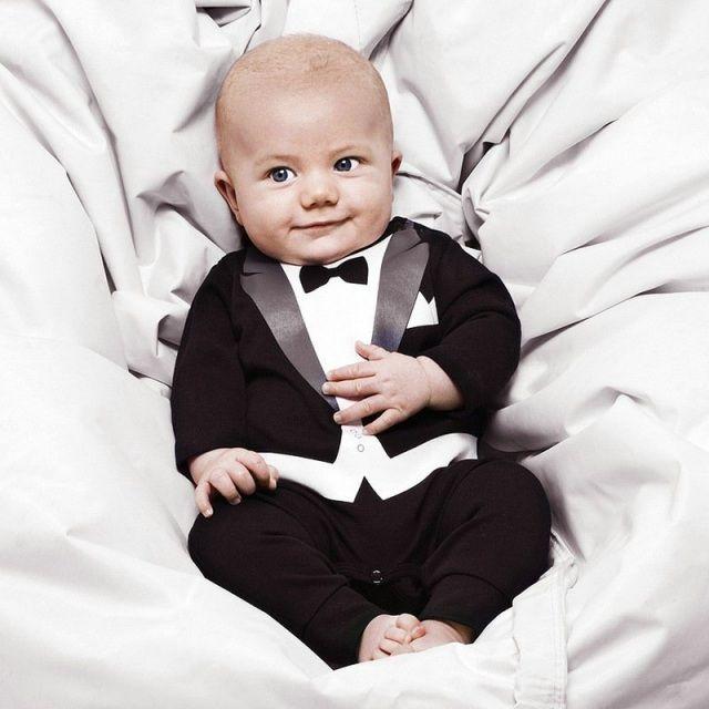 festliche kleidung baby junge stramplerhose smoking anzug look