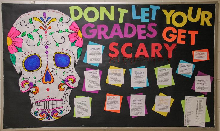 Halloween study tip board. 15 tips on how to do better on tests and quizzes. Resident advisor / resident assistant / RA bulletin board