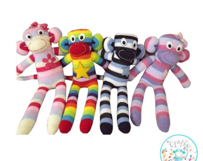 Sock Monkey Sewing Machine Pattern PDF, toy, stuffie, softie,toy monkey pattern, Baby safe, Toy animal, sock animal, cheeky monkey pattern,