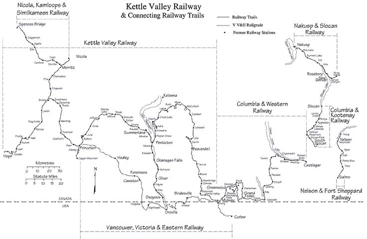 Map of the Kettle Valley Railway
