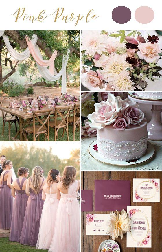 Pink Purple Mauve wedding colors. Outdoor wedding. Purple invitations. Different bridesmaid dress. Invites from @unica