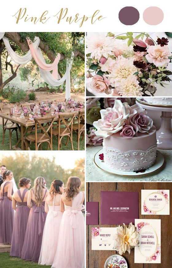 Pink Purple Mauve wedding colors. Outdoor wedding. Purple invitations. Different bridesmaid dress. Invites from @unica