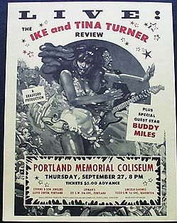 TINA TURNER - IKE AND TINA TURNER - Thurs, Sept 27, 1973 at the Portland Memorial Coliseum
