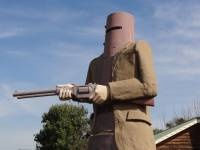 Ned Kelly at Glenrowan, Victoria. Site of the infamous 'last stand'.