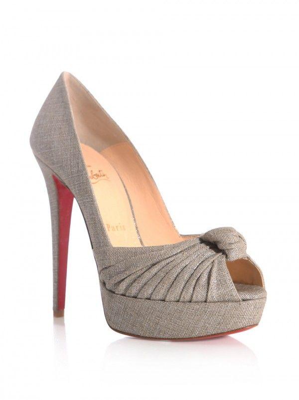 Christian Louboutin: Grey Greissimo peep-toe pumps 2012