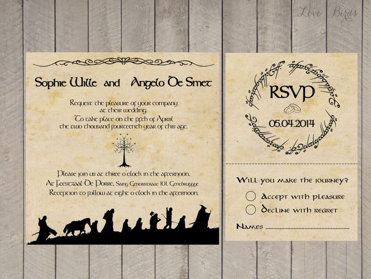 Lord of the Rings Wedding Invitations: Part One | BreeCraft