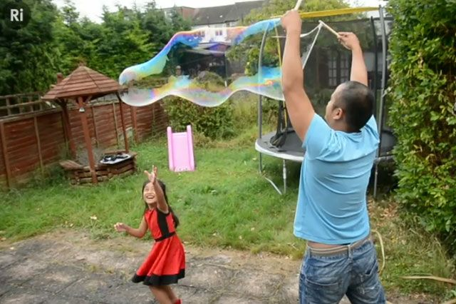 How to make giant soap bubbles as a fun science game with children.