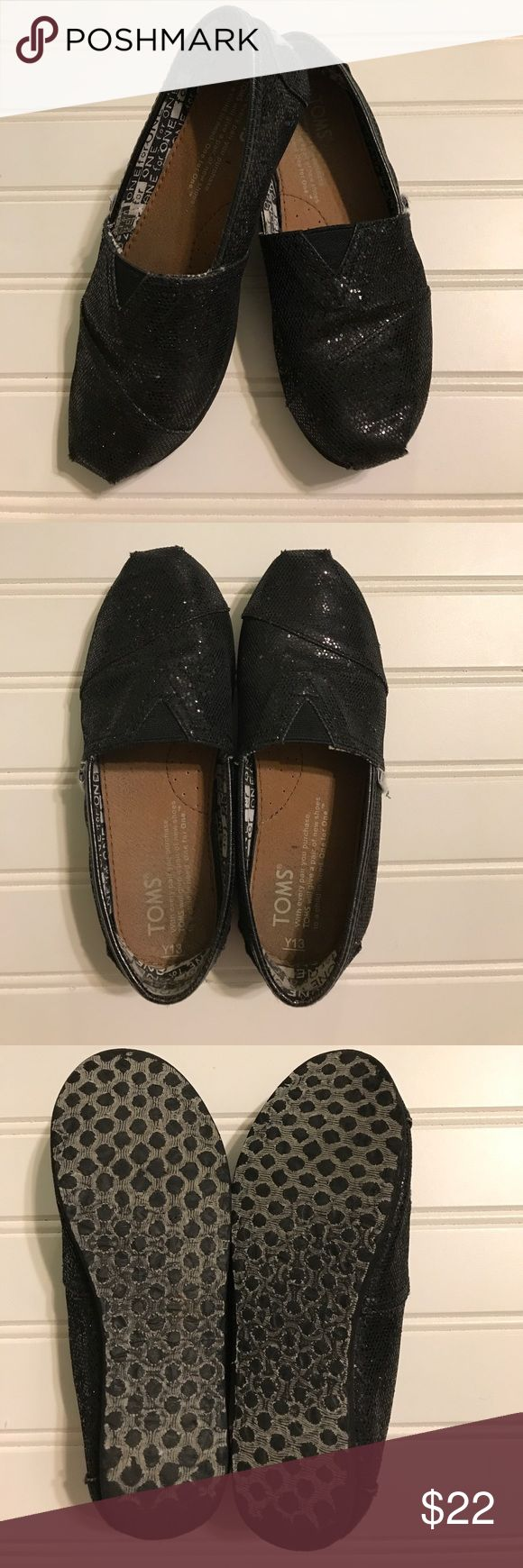 TOMS - youth size 13 Girls Black glitter TOMS - youth size 13. EUC. Worn only a couple times before daughter had a growth spurt. TOMS Shoes