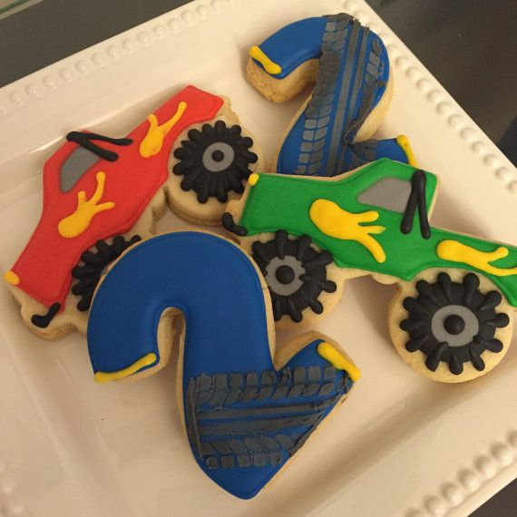 Monster Truck Cookies by ASweetMorselCo on Etsy