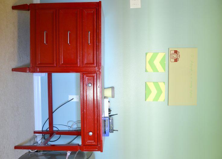 red desk makeover