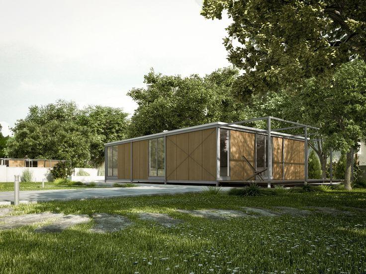 Vivienda Modular Javier Terrados (parcela) - Realización de infografías 3D para la presentación de un proyecto de viviendas modulares de construcción en seco. Arquitecto: Javier Terrados Cepeda