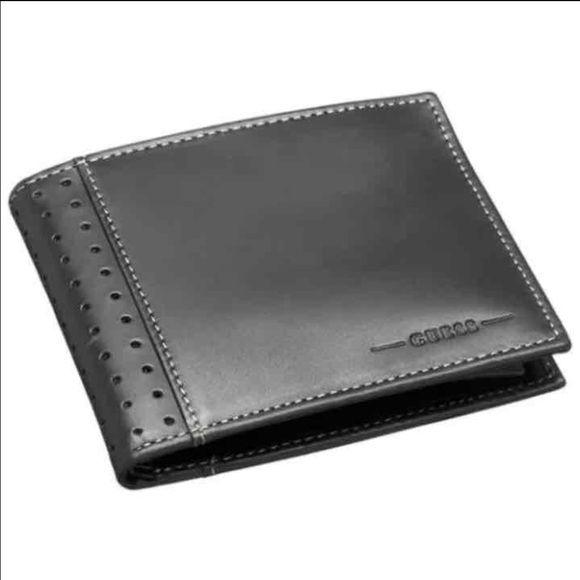 "New Guess Men's Black Leather Wallet New Guess Passcase Men Wallet Color: Black Size: 4.1"" x 3.1"" 4 Credit Cards Slots 2 Bills Slots 1 ID Slot Guess Bags Wallets"