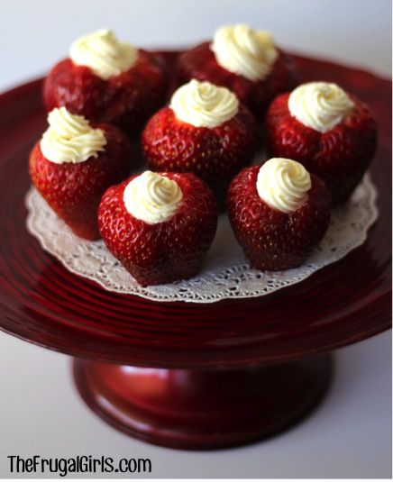 Cream Cheese Filled Strawberries - how cute would these be topped with a few blueberries for a 4th of July theme??