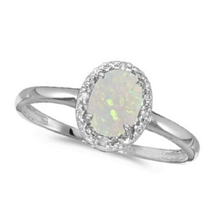 Oval Opal and Diamond Cocktail Ring in 14K White Gold (0.46ct)- Allurez
