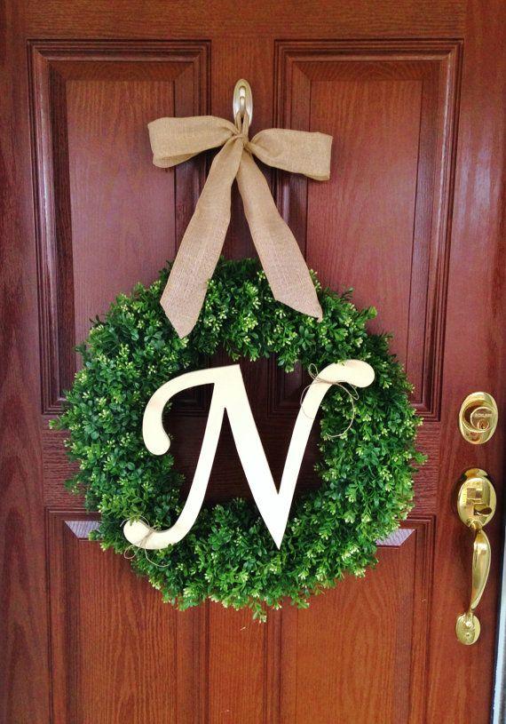 Monogram Boxwood Wreath Artificial Boxwood by TheFlirtyFeather