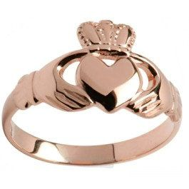 Solid Ladies 10K/14K/18K Rose Gold Irish Claddagh by Irishjewelry