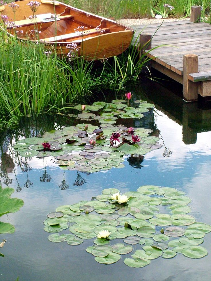Google Image Result for http://images.mooseyscountrygarden.com/hampton-court-flower-show/hampton-court-flower-show-water-gardens/water-garden-boat-jetty.jpg Repinned by www.claudiadeyongdesigns.com (contact us for natural ponds and water feature design)