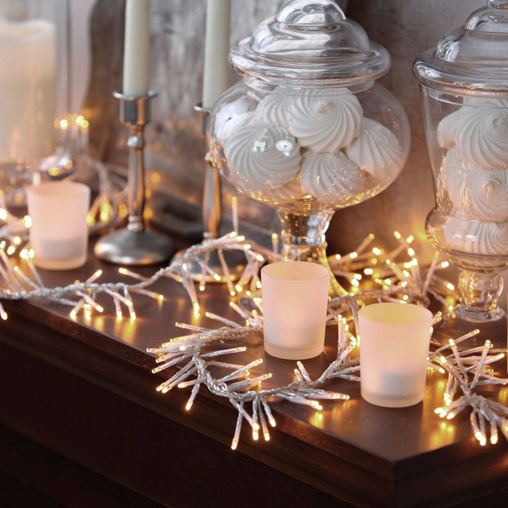 Warm White 440 Led Cluster Garland Plug In String Lights