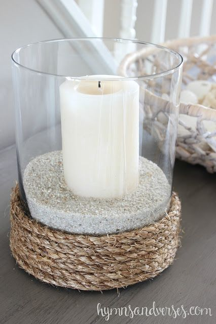 Rope wrapped glass vase + sand + candle = coastal candle holder