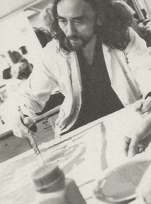 Yohji Yamamoto working on the costumes of Wagner's opera Tristan und Isolde, Bayreuth festival, 1993