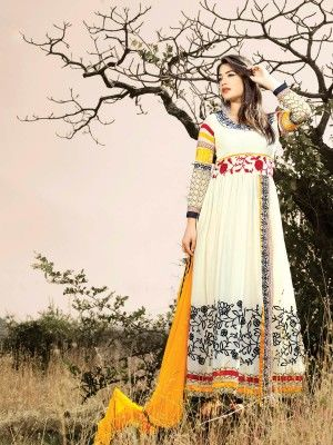 Off White Yellow Heavy Georgette Lovely Anarkali Salwar Kameez Eid in india