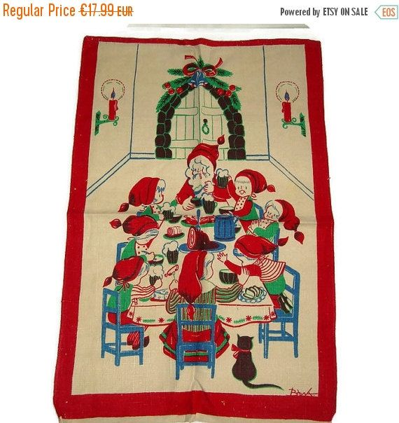 ON SALE Swedish Christmas Tea Towel Xmas Kitchen Towel God Jul Gnomes  Mid Century Wall Hanging Signed Scandinavian Textile Home Decor FREE