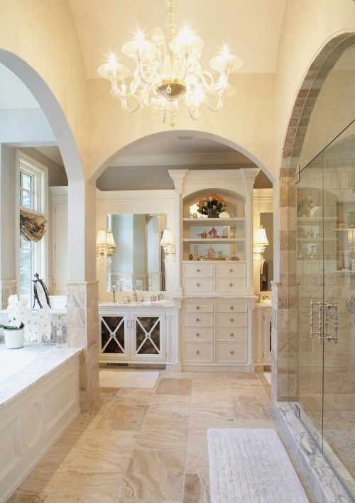 Pretty!Bathroom Design, Ideas, Masterbath, Dreams House, Interiors Design, Dreams Bathroom, Master Bathrooms, Shower, Traditional Bathroom