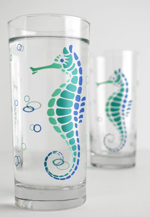 Seahorse Water Glasses for your Beach house