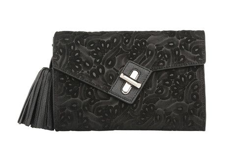 Mini MILCK Clutch Flower Party in black with gold hardware. Small, but not too tiny, this fulfills all the basic clutch duties. Meanwhile, the chain strap  gives it the versatility to sling crossbody and worn with a bit of edge.