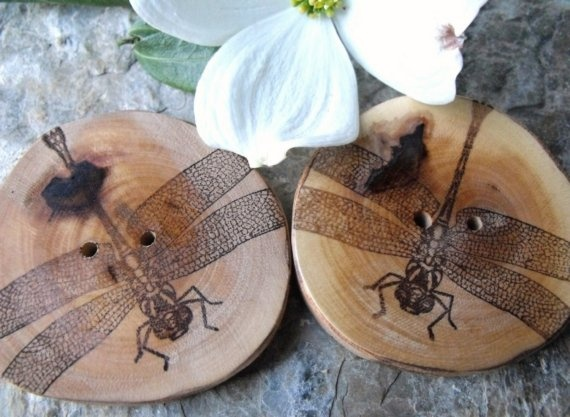 Dragonfly Wood Buttons..HAVE!  Love Brenda's Shop!