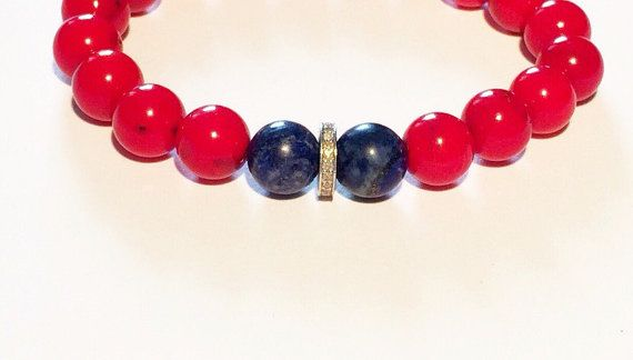 Men bracelet RED BLUE and DIAMOND bracelet for by PearlAnaJewelry
