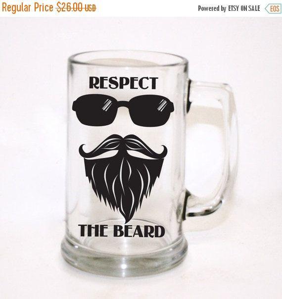 ON SALE Respect the Beard Beer Mug Men's Gift Custom by LEVinyl
