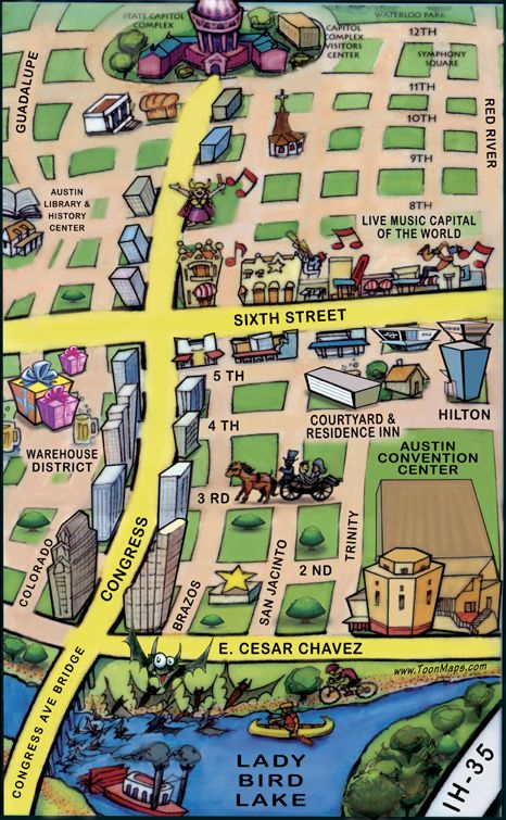 Downtown Austin Texas Cartoon Map