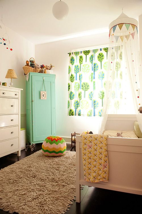 the boo and the boy: girls' rooms The mobile, canopy over bed and armoire