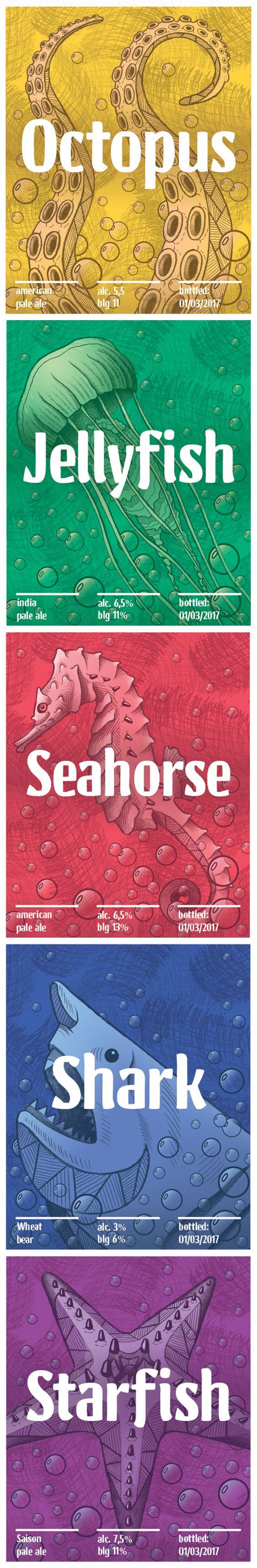 Beer design labels, illustrations