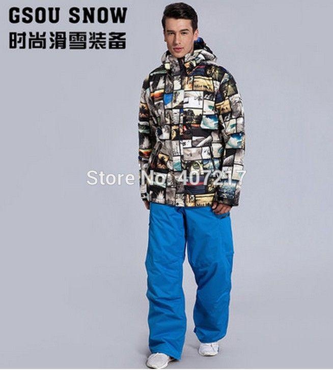 2017 New mens top quality ski suit men's snowboarding suit male skiing suit ski jacket and blue ski pants skiwear skating suit