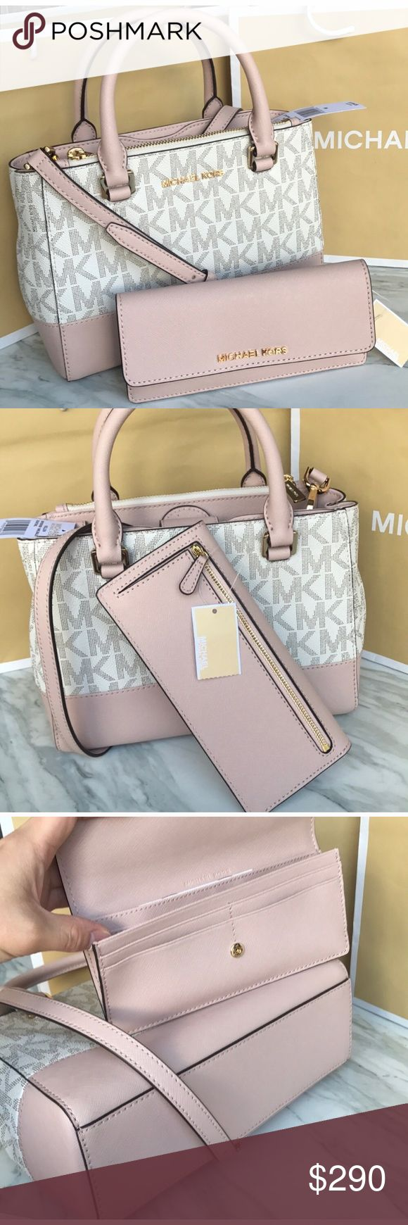 🎀🎉mk Satchel set🎉crossbody/Kellen bag Both bag and wallet authentic brand new with tags. Vanilla /ballet color. Gold hard wear both. Purse strap removable can wear as Satchel/crossbody. Michael Kors Bags Satchels