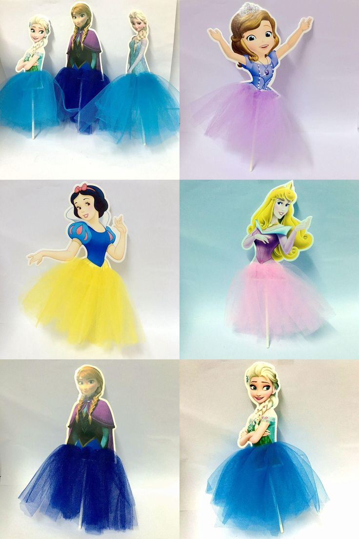 [Visit to Buy] 2Pcs Frozen Sister Snow White Princess  Blonde Princess Tangled Sophia Cupcake Toppers Pick For Kids Birthday Party Supplies #Advertisement