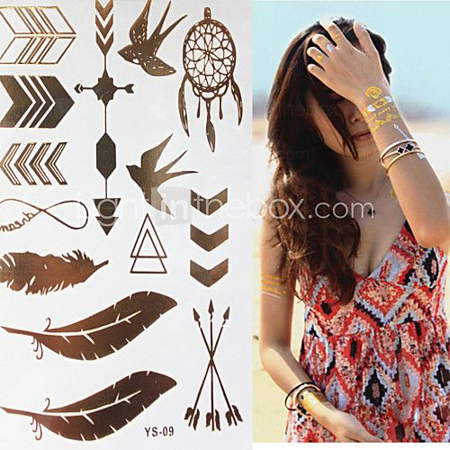 Sex Glitter Gold Flash Swallow Feather Pen Tattoo Stickers Temporary Tattoos(1 pc) - USD $ 3.99