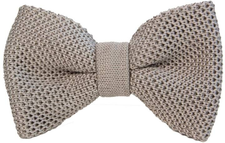 40 Colori - Silver Solid Silk Knitted Bow Tie